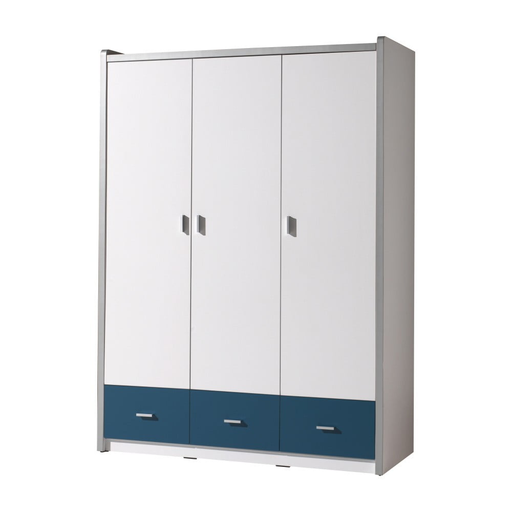 Bílo-modrá šatní skříň Vipack Bonny, 202 x 140,5 cm
