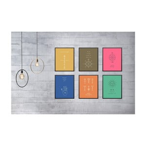 Sada 6 nástěnných obrazů Tablo Center Symbols