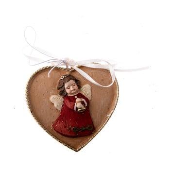 Decorațiune suspendată cu motive inimă/înger Dakls, lungime 5,5 cm imagine