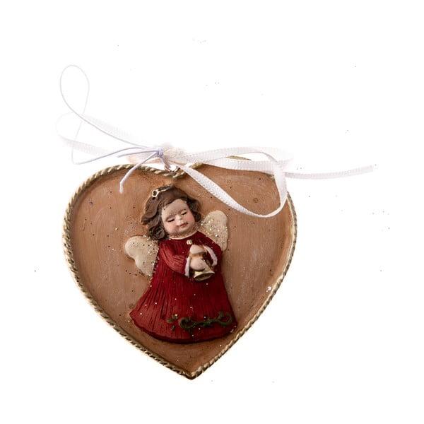 Závěsná ozdoba ve tvaru srdce s motivem anděla Dakls, délka 5,5 cm