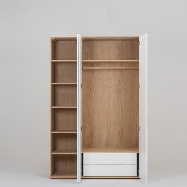 Modulový díl skříně s konstrukcí z masivního dubového dřeva se 2 zásuvkami Gazzda Ena, připevnění vlevo