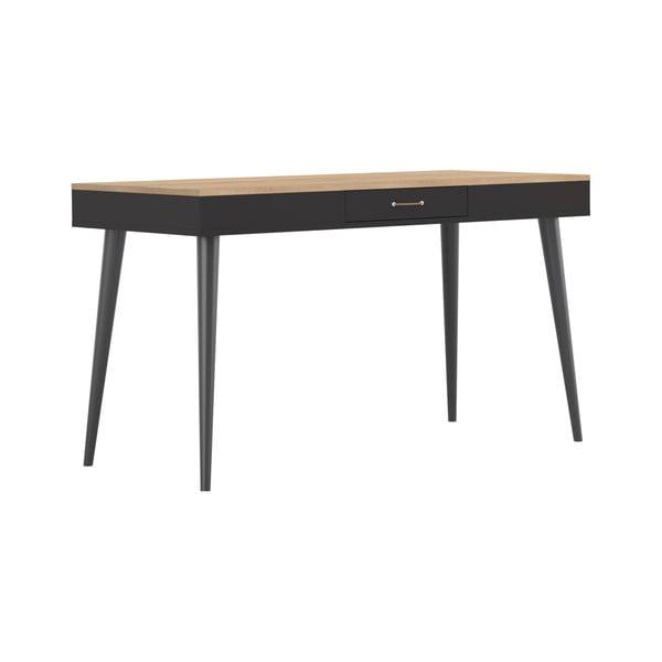 Černý pracovní stůl v dekoru dubového dřeva TemaHome Horizon
