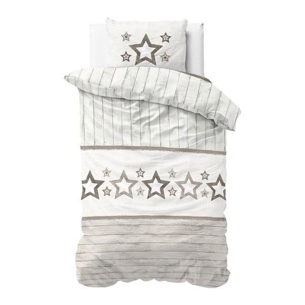 Brązowo-biała pościel z mikroperkalu Sleeptime Stars,140x220cm