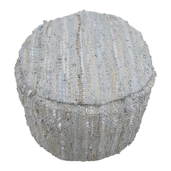 Kožený puf s bavlněnými detaily Mauro Ferretti Delhi Rotondo