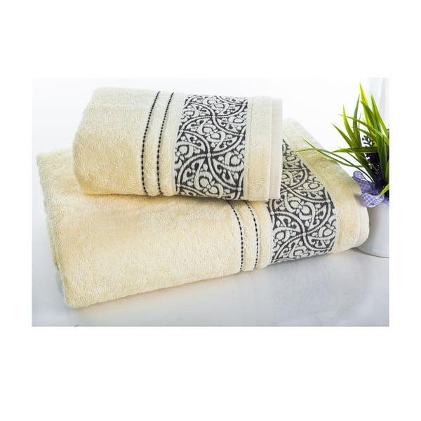 Sada 2 ručníků Saray Cream, 50x90 cm a 70x140 cm