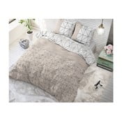 Hnědo-bílé bavlněné povlečení na jednolůžko Sleeptime Gino,140x220cm