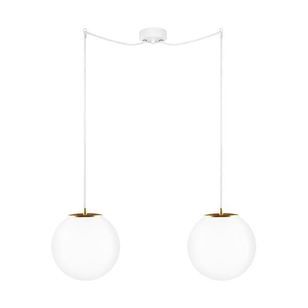 Závěsné dvojité svítidlo z opálového skla se zlatou objímkou Sotto Luce TSUKI