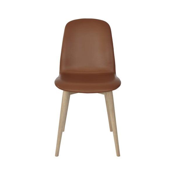 Sada 2 oranžových jídelních židlí s nohami z masivního dubového dřeva WOOD AND VISION Basic
