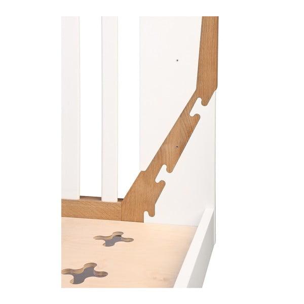 Pătuț din lemn YappyKids Icon, 70 x 140 cm, alb-natural