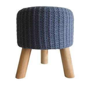 Šedomodrá pletená stolička Stardeco, 35 cm