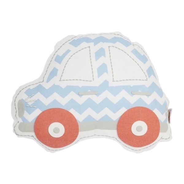 Pernă din amestec de bumbac pentru copii Apolena Pillow Toy Car, 32 x 25 cm, albastru - roșu