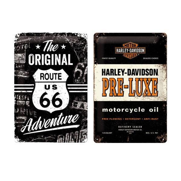 Sada 2 ks plechových cedulí Harley, 20x30 cm