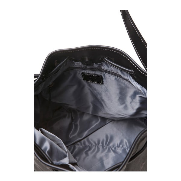 Kožená kabelka Canguru Bucket, černá