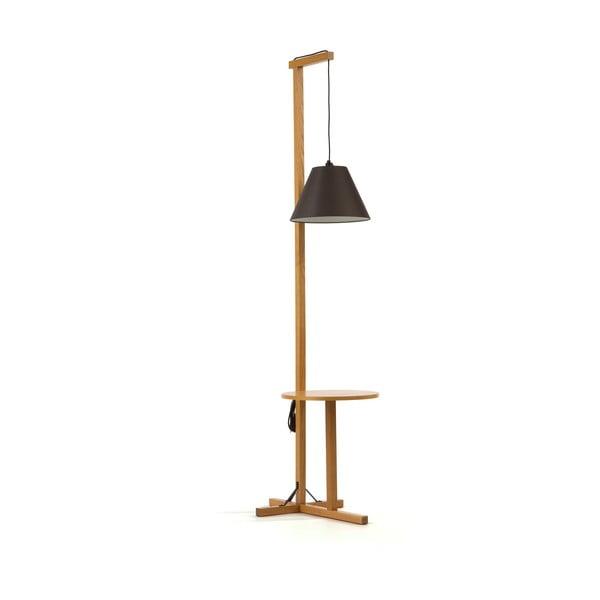 Černá stojací lampa s dřevěnou konstrukcí Woodman Floor