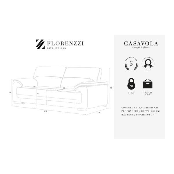 Světle šedá trojmístná pohovka Florenzzi Casavola