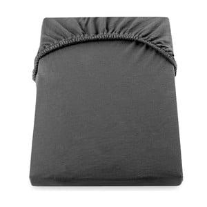 Tmavě šedé elastické bavlněné prostěradlo DecoKing Amber Collection, 220-240 x 200 cm