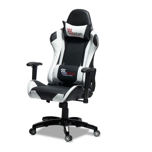 Czarno-białe krzesło biurowe Knuds Gaming