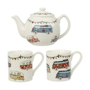 Set 2 hrnků a čajové konvice z kostního porcelánu Churchill China Caravan Festival