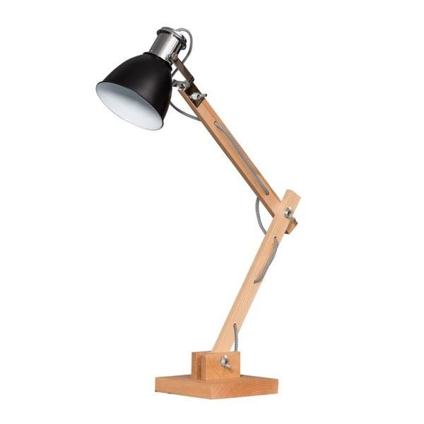 Dřevěná stolní lampa s černým stínítkem ETH Craco