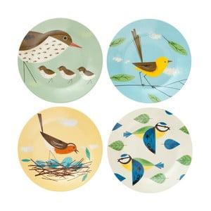 Sada 4 talířů Magpie Birdy, 19 cm