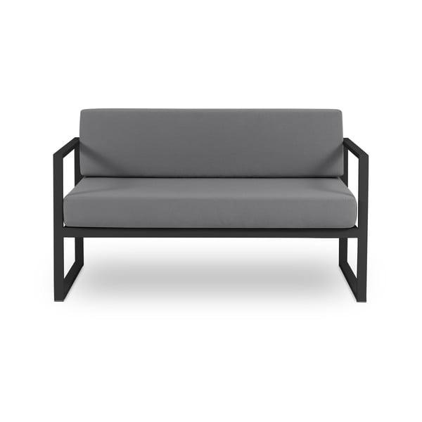 Canapea cu două locuri, adecvată pentru exterior Calme Jardin Nicea, gri grafit - negru