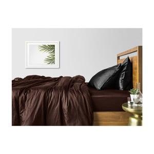 Hnědo-černé bavlněné povlečení na dvoulůžko s hnědým prostěradlem COSAS Ludo, 200 x 220 cm