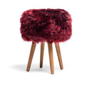 Stolička s červeným sedákem z ovčí kožešiny Royal Dream, ⌀30cm