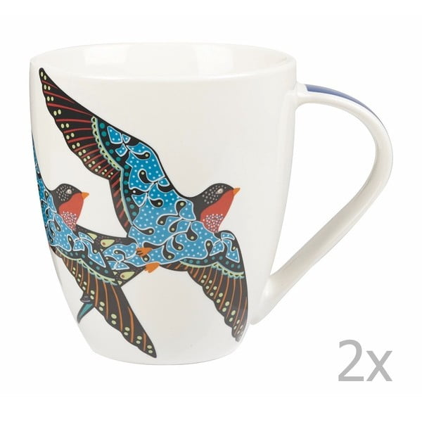 Sada 2 hrnků z kostního porcelánu Churchill China Paradise Swallow, 500 ml