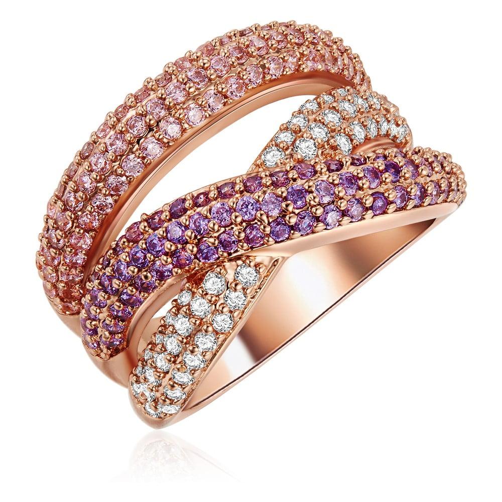 Dámský prsten v barvě růžového zlata se zirkony Tassioni Rainbow, vel.58