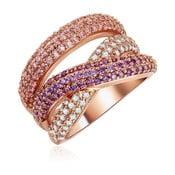 Dámský prsten v barvě růžového zlata Runaway Rainbow, 52