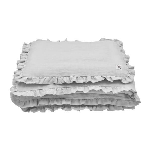 Set šedé dětské lněné přikrývky s polštářem BELLAMY Stone Gray, 80x100cm