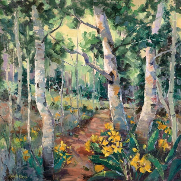 Obraz Four Seasons Aspens, 55x55 cm