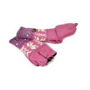 Vlněné palčáky bez prstů Růžová vločka