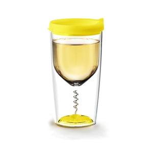 Termoska na víno s vývrtkou Vino Opener Yellow
