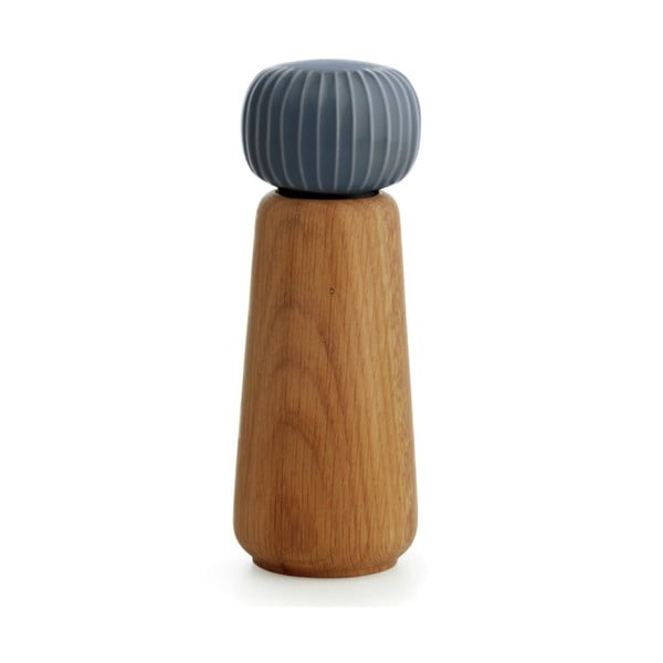 Mlynček z dubového dreva na korenie s antracitovosivým detailom z porcelánu Kähler Design Hammershoi, výška 17,5 cm