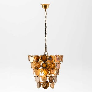 Závěsné svítidlo z kovu zlaté barvy a achátu Thai Natura Agate