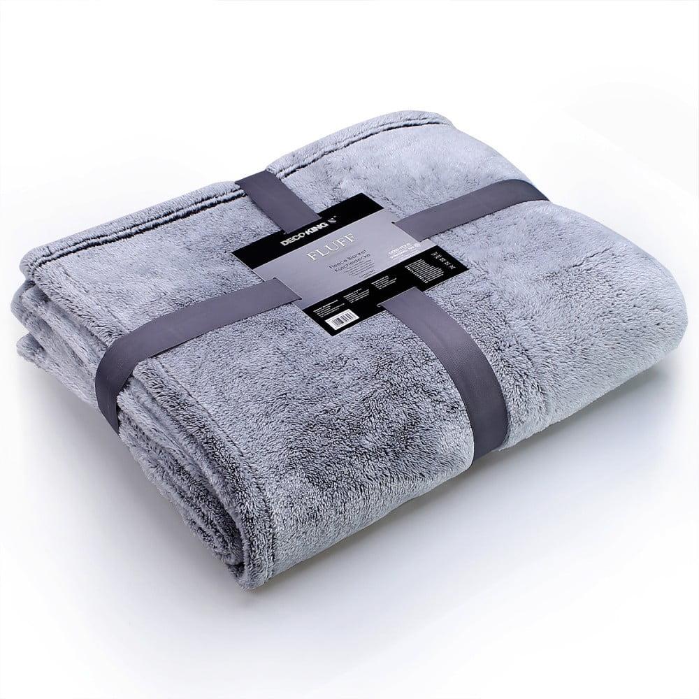Modrošedá deka z mikrovlákna DecoKing Soft, 150 x 200 cm