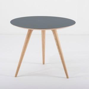 Příruční stolek z dubového dřeva s modrou deskou Gazzda Arp, Ø55cm
