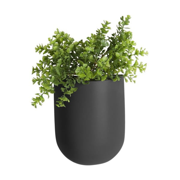 Matne čierny nástenný keramický kvetináč PT LIVING Oval