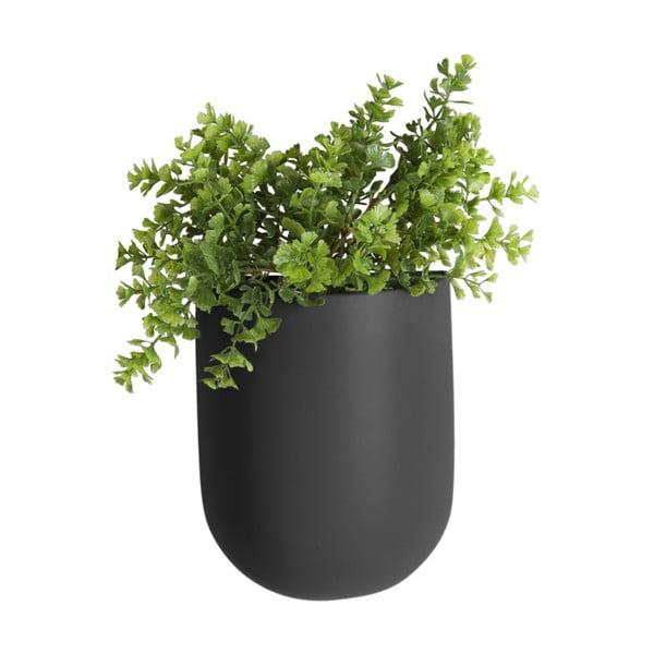 Ghiveci suspendat din ceramică PT LIVING Oval, negru mat
