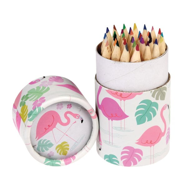 Set de 36 de creioane în tub decorativ Rex London Flamingo Bay