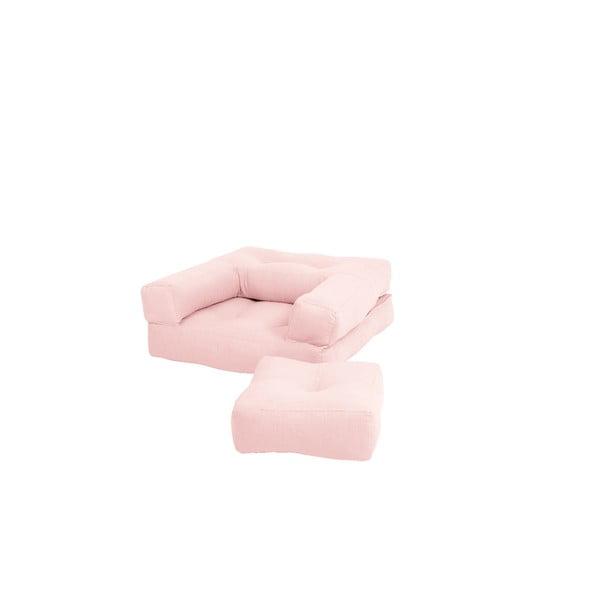 Mini Cube Pink Peonie kinyitható gyerekfotel zsámollyal - Karup Design