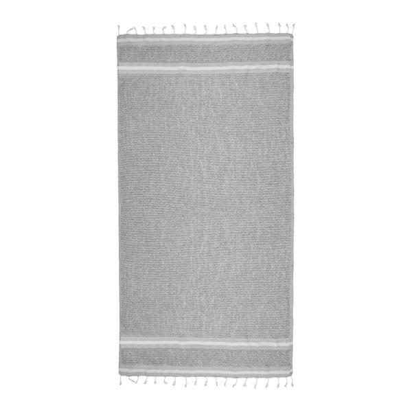 Šedá hammam osuška s bílými detaily Begonville Avola, 170x90cm