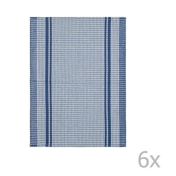 Sada 6 modrých bavlněných utěrek Tiseco Home Studio Waffle, 50 x 70 cm