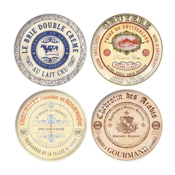 Sada 4 dezertních talířů z keramiky Creative Tops Gourmet Cheese