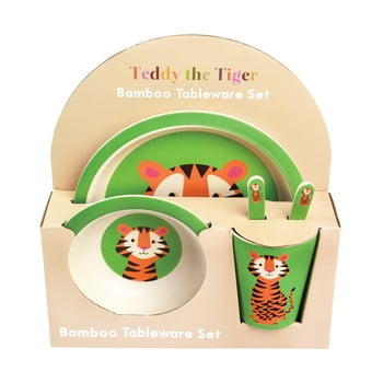 Set veselă din bambus pentru copii Rex London Teddy the Tiger imagine