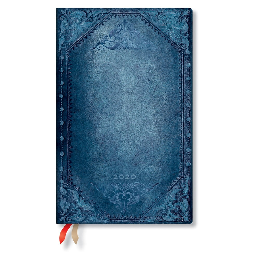 Modrý diář na rok 2020 v tvrdé vazbě Paperblanks Peacock Punk, 160stran