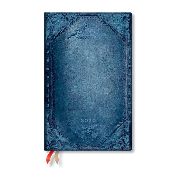 Niebieski kalendarz na rok 2020 w twardej oprawie Paperblanks Peacock Punk, 160 str.