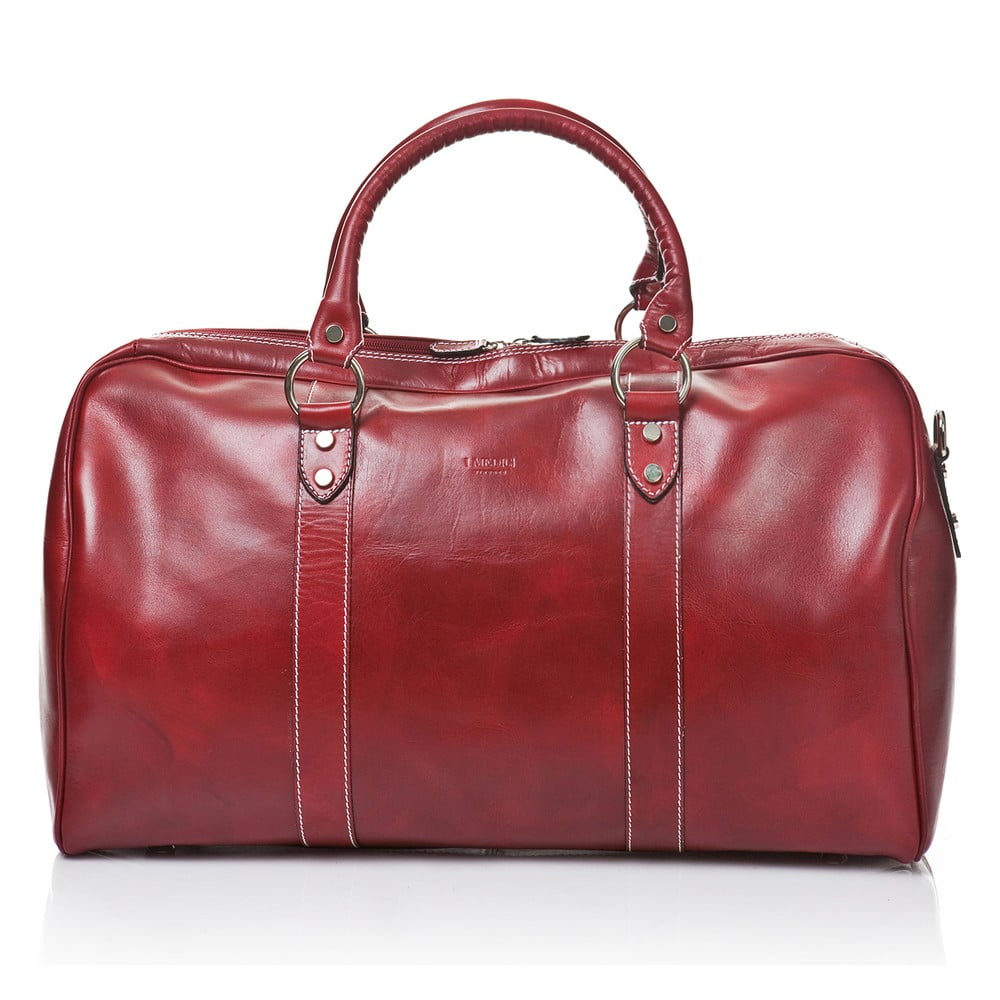 Červená kožená cestovní taška Medici of Florence Tommaso