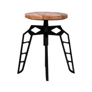 Černá stolička se sedákem z mangového dřeva LABEL51 Pebble